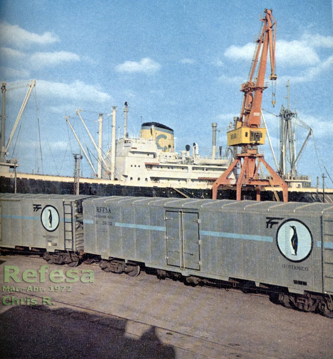 Vagões isotérmicos no porto de Rio Grande (RS) na década de 1970